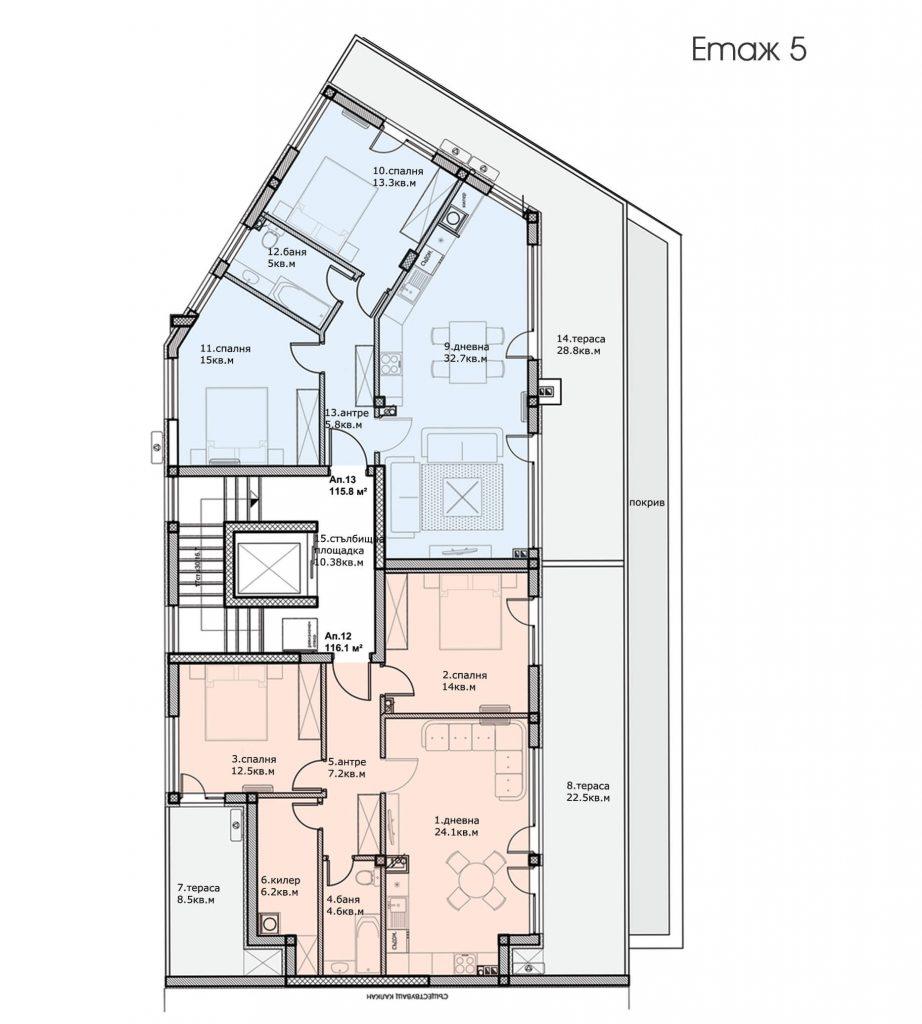 Разпределение етаж 5